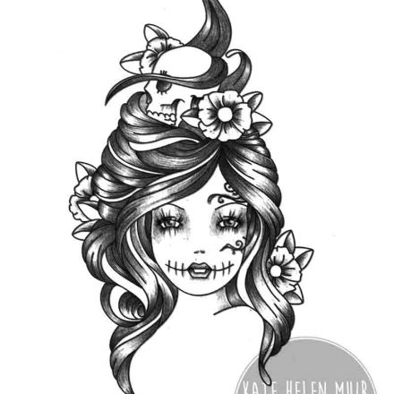 07888fdad Gypsy Skull and Flowers in Hair